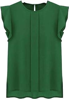 Ularma Chiffon Blouse, Women Fashion Casual Loose Short Tulip Sleeve Shirts