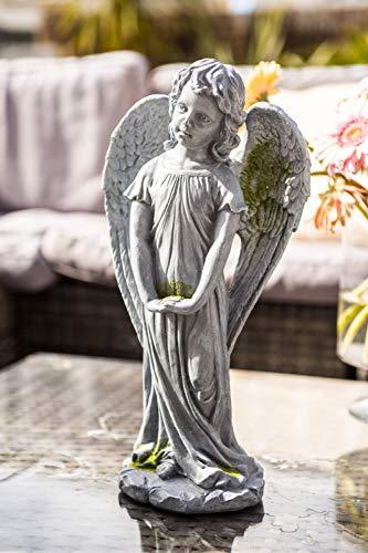 garden mile Winged Angel Garden Ornament Statue Outdoor | Grey Stone Effect Garden Sculpture | Decorative Patio Feature | Traditional Flower Bed Decor | Decorative Collectable Garden Features