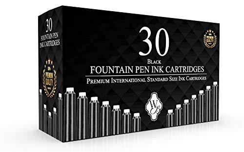 Wordsworth & Black - Pack de 30 cartouches de stylo à encre; Noir - Taille standard internationale; Longueur environ 5,2 cm - Diamètre de la base environ 0,6 cm - Jetable.