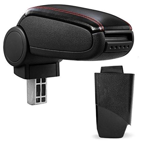 Mittelarmlehne / Mittel-Armlehne mit klappbarem staufach / Mittel-konsole Leder Fahrzeugspezifisch (Farbe: SCHWARZ / ROT)