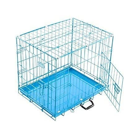 Dog Trust Single Door Folding Metal cage with Removable Tray and paw Protector for Dogs,Cats and Rabbits 18 Inch Sky Blue