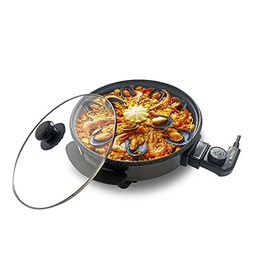 Sogo Multicazuela Paellera, Sartén Eléctrica para Paella y Pizza, Cazuela Multiusos Con Tapa de Cristal Reforzado, Revestimiento antiadherente de piedra libre de PFOA, (32 x 4,5 cm, 1500W)