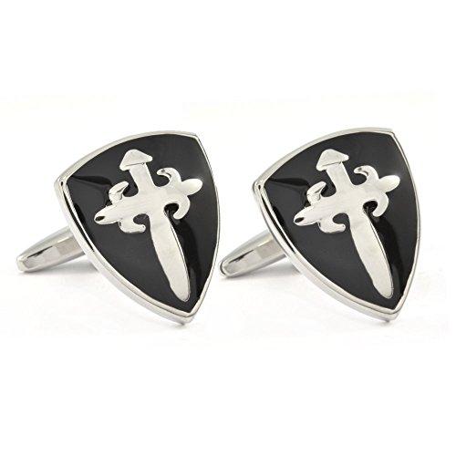1StopShops Schwarz Shield Manschettenknöpfe in Geschenkbox