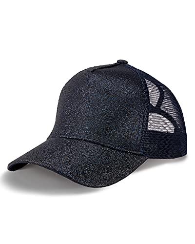 LIVACASA Gorras de Béisbol de Cola de Caballo para Mujeres Niñas Baseball Cap con Brillo Ajustable de Malla Transpirable para Verano Running Golf Tenís Deportes Aire Libre Azul Marino
