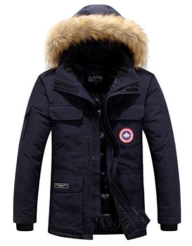 Herren Daunenjacke Winterjacke Fur Hooded Puffer Jacket Fell Pelzmantel Winterparka Pelzkragen Mit Kapuze Winter Warme Mäntel Jacken (Dunkelblau,M)