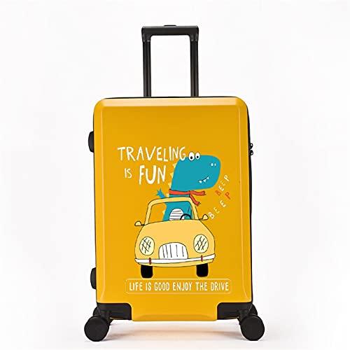 FGHHJ Equipaje pequeño de 20 Pulgadas, Maleta para niña, Equipaje de Viaje con 4 Ruedas, Carro de Carro con cáscara Dura Ligera,Yellow Car