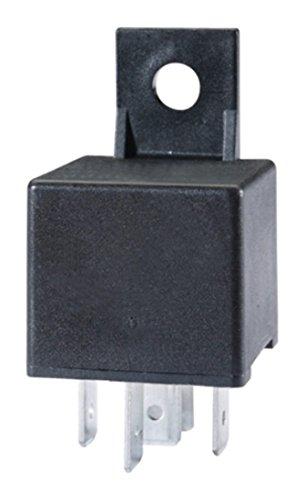 HELLA 4RD 007 794-031 Relais, courant de travail - 12V - 5pôle - Schéma de câblage: W2 - Fiche: B1 - Ouvreur/Relais à courant de travail/Relais inverseurs - Couleur: noir - avec support