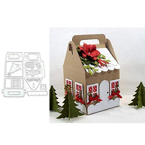 lamta1k Stanzmaschine Stanzschablone,Christmas House Box Metallschneideisen DIY Scrapbook Emboss Papierkarten Craft - Silber