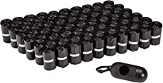 Amazon Basics Unscented Standard Dog Poop Bags with Dispenser and Leash Clip, 13 x 9 Inches, Black - 60 Rolls (900 Bags)