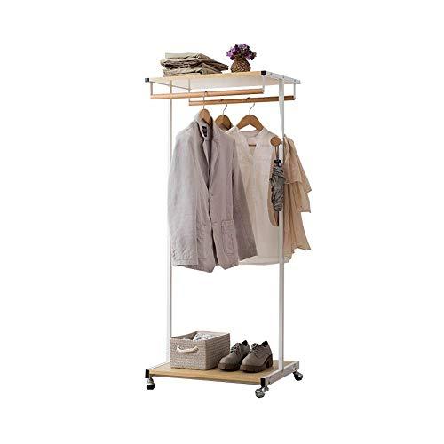 Kapstok garderobe, multifunctionele garderobe, staal hout slaapkamer kledinghangers vloerrek opslagrek kledingstandaard (kleur: bruin) wit