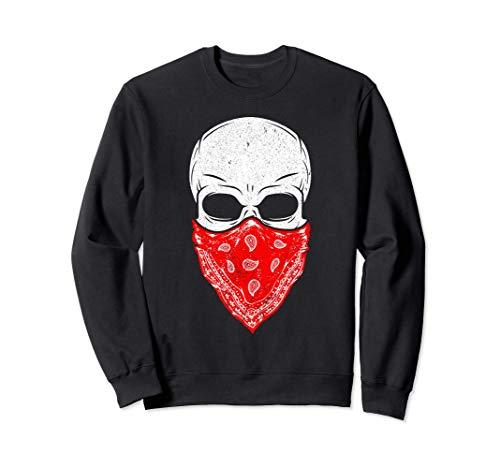 Totenkopf I Furchtloses Skelett I rotes Bandana Totenkopf Sweatshirt