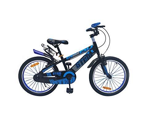 Bicicleta infantil con marco de acero para niños y niñas, 20 pulgadas, color azul, con frenos de disco