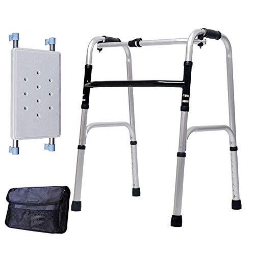 ZXL Walker Folding Senioren, höhenverstellbar, mit Sitz, Aufbewahrungstasche, leicht und tragbar, Badezimmerstuhl