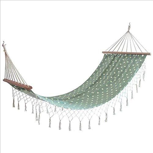 Dubbele Camping Hangmat, Buiten Met Kant Katoen Doek Binnen Buiten Vrije tijd Tassel Hangmat-Wit