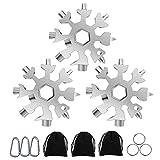 Flocon de neige multi-outils, 3 pcs 18 en 1 outil flocon de neige en acier inoxydable avec sac de rangement, porte-clés et mousqueton (argent)