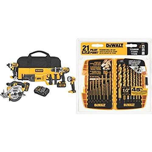 DEWALT DCK590L2 20-Volt MAX Li-Ion 3.0 Ah 5-Tool Combo Kit with Titanium Pilot Point Drill Bit Set, 21-Piece