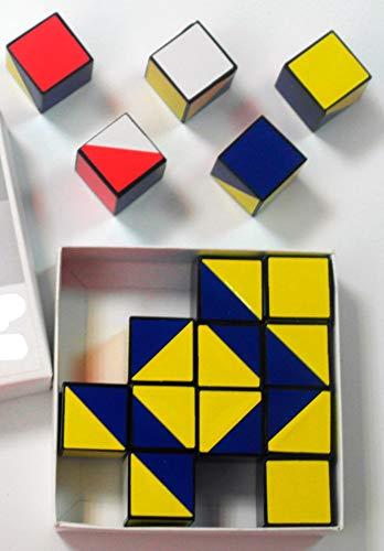 16Cubes de Kohs. Blanc, Rouge, Bleu et Jaune