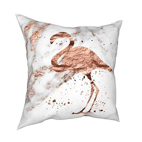 WALL-8-CC Throw Pillow Cover,Rose Gold Marble Flamingo Decorative Square Throw Pillow Case Cushion Cover 18x18 Inch for Sofa Couch Bedroom Living Room Decoration