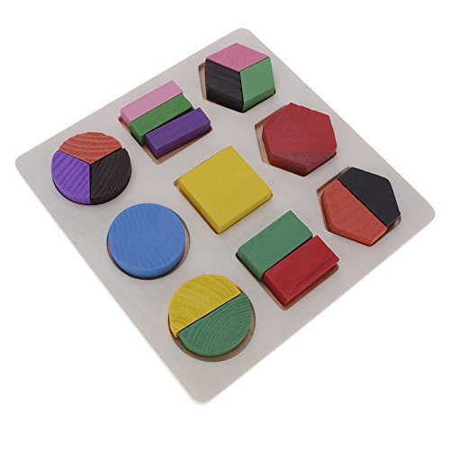 GGG Enfants Conseil en bois éducation Géométrie Matching Plate Puzzle Jouets Casse-tête cadeau de noël Jouet - conseil de division égale