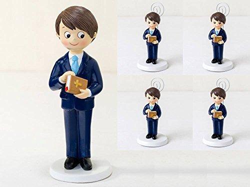 6er-Pack Fotohalter für Kinder, Kommunion, Jacke und 1 passende Tortenfigur