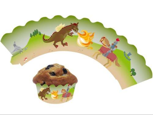 DH-Konzept 12 Ritter & Drache - Cupcake Deko Banderolen Muffinförmchen Muffin Förmchen Kindergeburtstag Geburtstag Party Kuchen Drachen