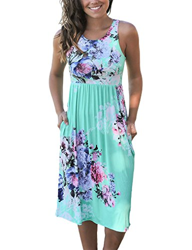 OURS Women's Tank Flower Sleeveless Sundress with Pocket for Party L Green