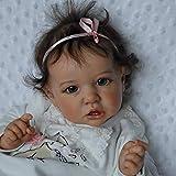 GUOHAPPY 22 Inch Reborn Baby, Realistisch Saskia Reborn Babypuppen, Handgemachte Vollkörper-Silikon-Baby-Puppen, mit Weißer Kleidung 55Cm,Silicone Vinyl Body