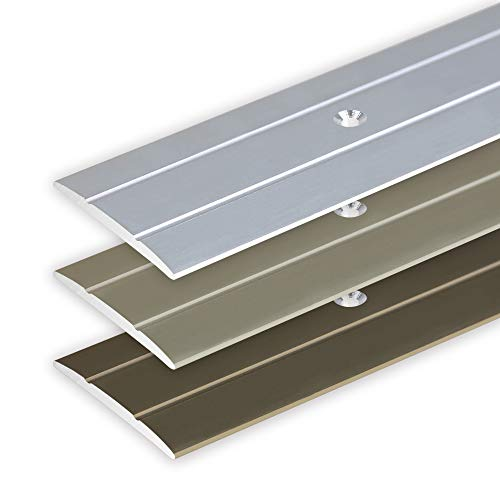 Toolerando Übergangsprofil Übergangsleiste Bodenleiste aus Aluminium zum Schrauben, Profil 90 cm x 36 mm x 2,5 mm, Silber