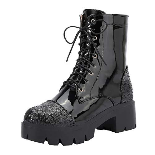 MISSUIT Damen Lack Plateau Schnürstiefeletten mit Blockabsatz Glitzer Ankle Boots Schnürung Pailletten 5cm Absatz(Schwarz,39)