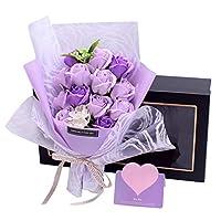 Runwho 枯れない花 ギフト ソープフラワー バラ 花束 結婚祝い 結婚記念日誕生日 バレンタインデー 昇進 転居 新築お祝い 還暦 母の日 プレゼント フラワーボックス付き Purple 13本