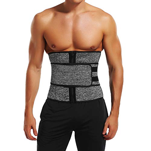 KIWI RATA Sauna Waist Trimmer Belt, Wide Men Workout Waist Trainer, Sweat AB Belt with Adjustable One Straps, Weight Loss Back Support Neoprene Snug Fit Belly Belt