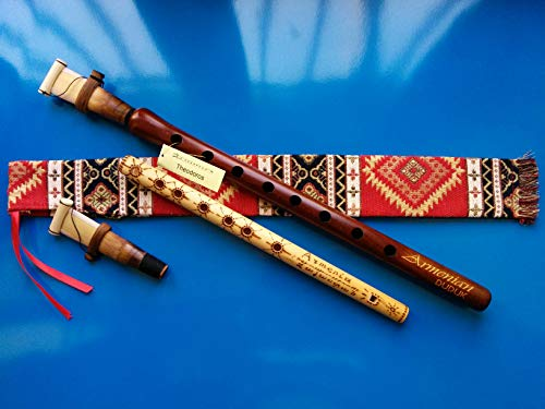 ARMENIAN Engraved DUDUK PRO from Apricot Wood, 2 Professional Reeds, National Case, Playing Instruction and Free Gift Flute
