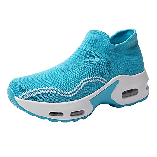 Sportschuhe Damen Sommer Atmungsaktiv Slip-on Sneaker Stricken Dämpfung Weiblich Turnschuhe Stilvoller Lässige Walkingschuhe Einfach All-Match Sportschuhe