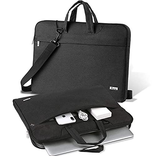 V Voova Laptoptasche mit Schulterriemen, schmal, kompatibel mit 2018–2021 MacBook Air/Pro M1, 13,5 Zoll Surface Book 3/Laptop 4, Chromebook, XPS 13, Jumper 13,3 Zoll Notebook, Schwarz