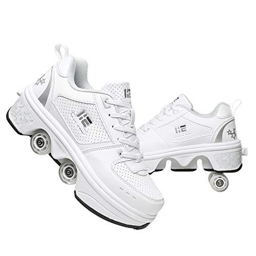 R&P Patines De Ruedas De Hielo Doble Fila Zapatos de Patinaje para niños, Patines Multifuncional Deformación para Adultos, Color Blanco,39