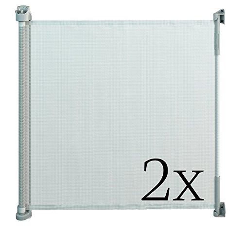 Gaterol Active Lite Weiß Doppelpack – Zwei ausziehbare Treppenschutzgitter und Türschutzgitter Rollo bis 140 cm