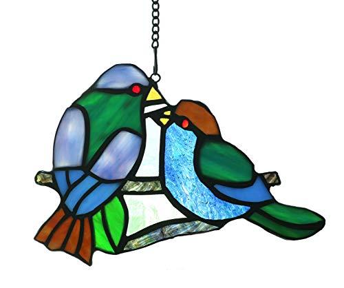 Alivagar Stained Glass Window Hangings Sun Catcher Honey Love Birds, 8 x 5