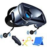 lpwca occhiali vr,visori realtà virtuale per cellulari universale con telecomando bluetooth e cuffie auricolari,compatibile con smartphone da 5,0 a 7,0 pollici
