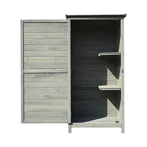 Wiltec Gartenschrank aus Holz 69,5x52x142cm mit Flügeltür & Flachdach mit Bitumenisolierung