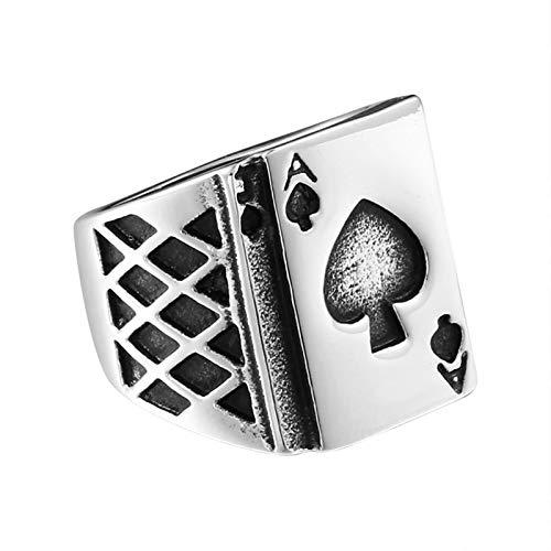 KnBoB Edelstahl Herren Ring Poker Spaten A Silber Männer Ring Partnerring Gold Größe 67 (21.3)