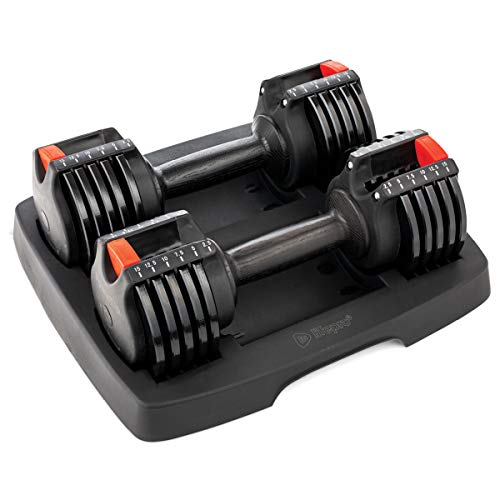 LifePro PowerUp Adjustable Weights Dumbbells Set - Home Workout Equipment for Weight Lifting, Strength Training, Muscle Building, Core Fitness - Light 2.5 lb-15 lb Adjustable Dumbbells Set of 2
