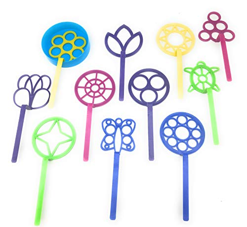 Bubble Wand Assortment Fun Bubble outdoors activity party favors Set of 11 Assorted Shapes and Colors Includes a Bubble Tray | Bubble wand set
