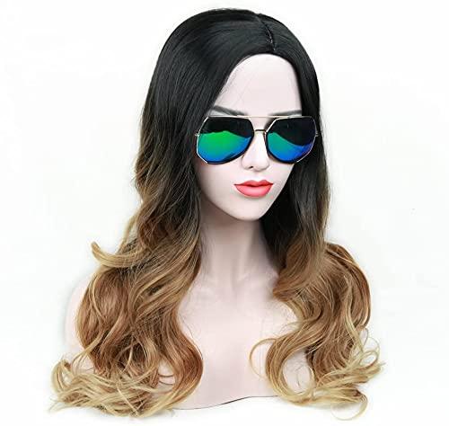Perruques ombre perruque Noir à la lumière du côté marron clair Perruque de fête du quotidien résistant à la chaleur résistante à la chaleur pour les femmes (ombre noir à brun clair)