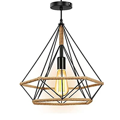 """Horevo Pendant Light, Industrial Chandelier, Black Metal Cage with Hemp Rope, 30"""" Adjustable Chain, Hanging Ceiling Light Fixture for Kitchen Island Farmhouse Cafes Bars, Bulb Include as a Gift."""