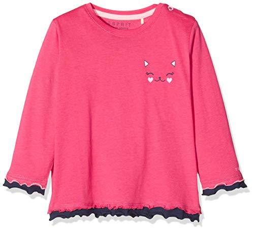ESPRIT KIDS Baby-Mädchen RQ1002112 T-Shirt LS Langarmshirt, Mehrfarbig (Candy Pink 300), (Herstellergröße: 68)