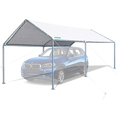 GALSOAR 10x20FT Carport, Outdoor Heavy Duty Car Tent Shelter with 6 Steel Legs and 3 Reinforced Steel Cables, Outdoor Party Canopy Garden Gazebo, Rainproof, Snow Protection, Sunproof, Dustproof, White