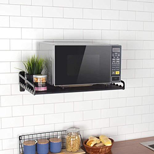 QIKEGooods Mikrowellenregal Wandregal Halterungen Metall Lagerregal Wand montiert Raum Aluminium Küche Bäcker Rack, Schwarz , 50*39.5cm
