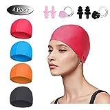 Swimming Caps for Kids Adult Teenager, 4pcs Comfortable Fabric Swim Cap for Women Men Girls Boys, Super...