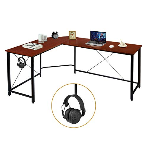 AuAg Modern L-Shaped Home Office Desk 66 inch Sturdy Computer PC Laptop Table Corner Desk Workstation Larger Gaming Desk Easy to Assemble 66' x 47.5' x 29' (Brown)