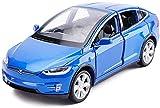Regalos para niños juguete, Fundición a presión de modelo de coche una y treinta y dos Tesla Model X simulación de aleación de coche de deportes de Adornos Toy Collection 15x5.5x4.5CM ( Color : Blue )